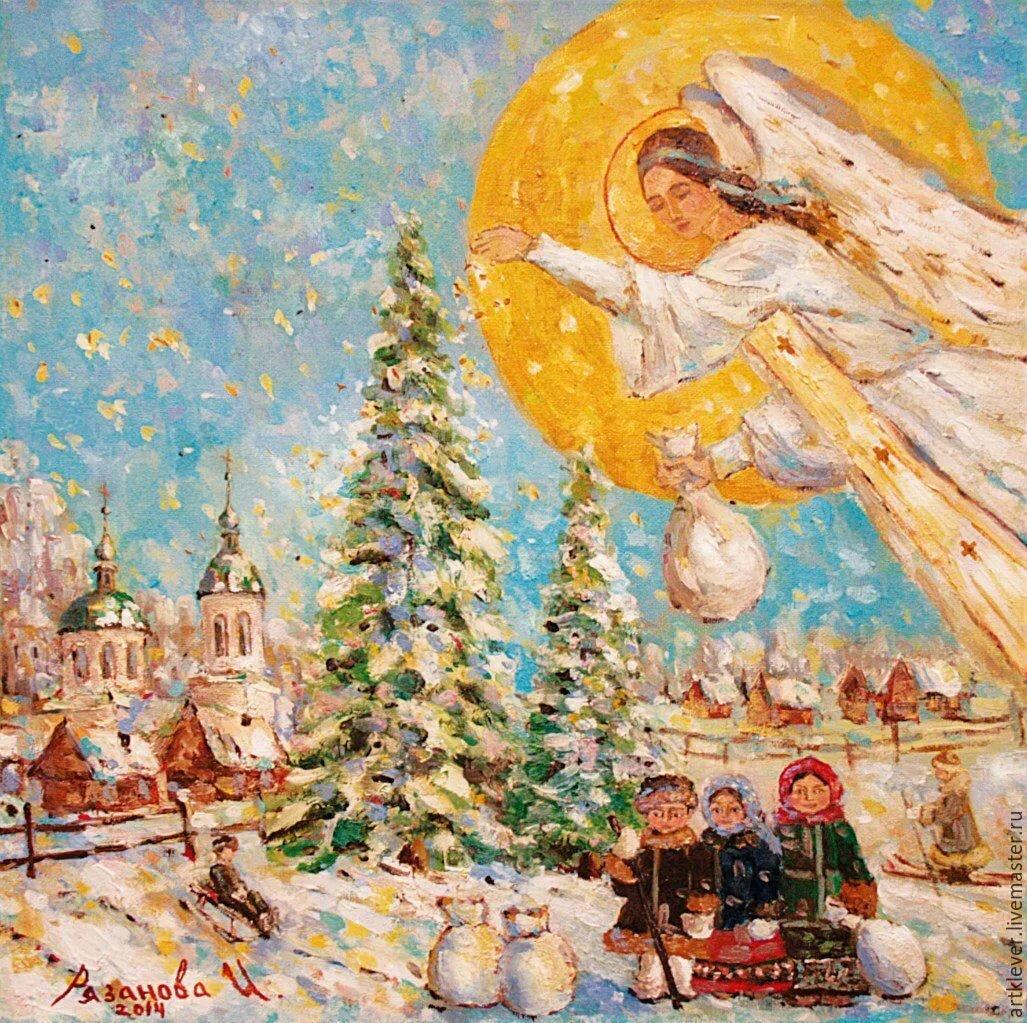 них рождественские мотивы в картинах художников научились