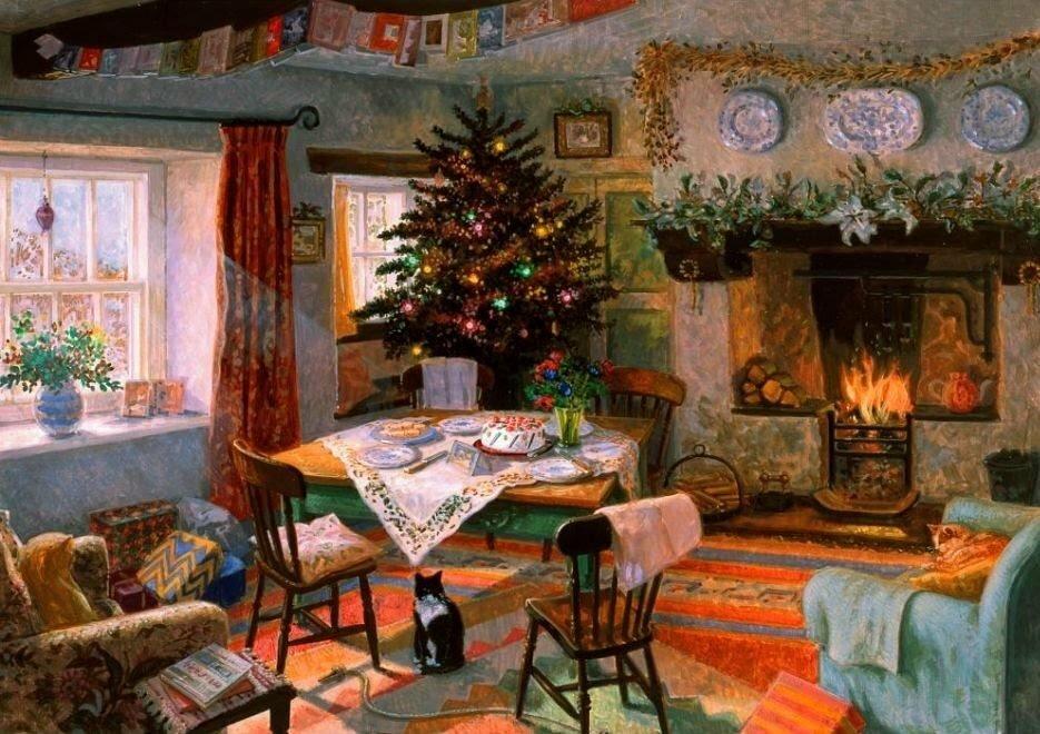картинки уютные новогодние старинные