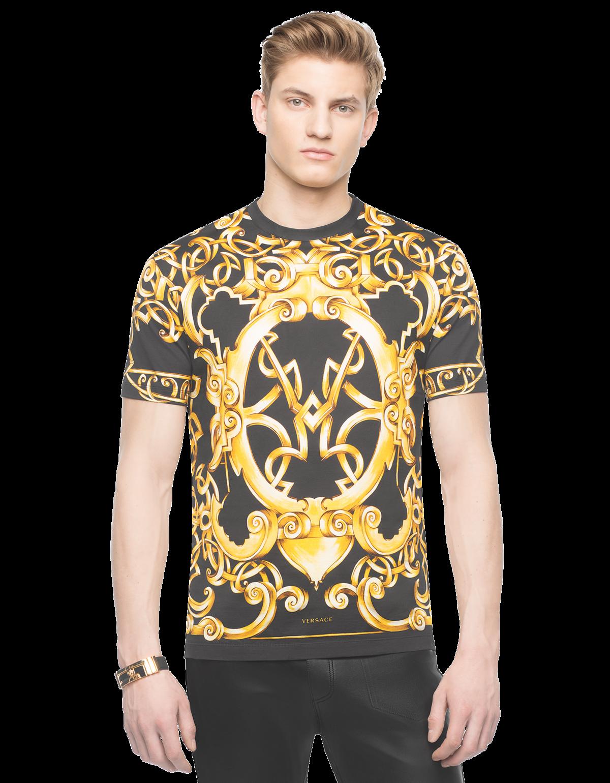 Versace Heritage Barocco Cotton T-shirt Baskı