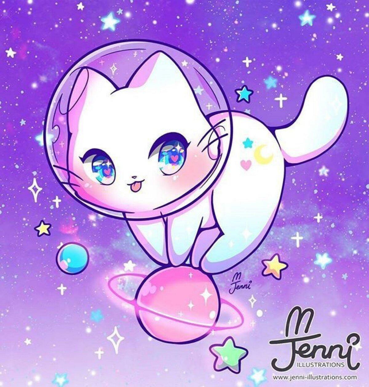 Милые картинки котят аниме срисовать