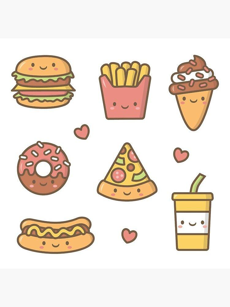 Кавайные рисунки еды распечатать