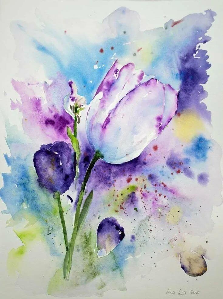 Акварельная картинка цветок