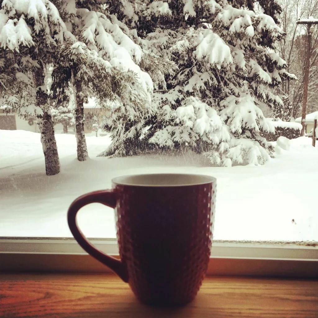 Фото с добрым утром зима с кофе чашечкой