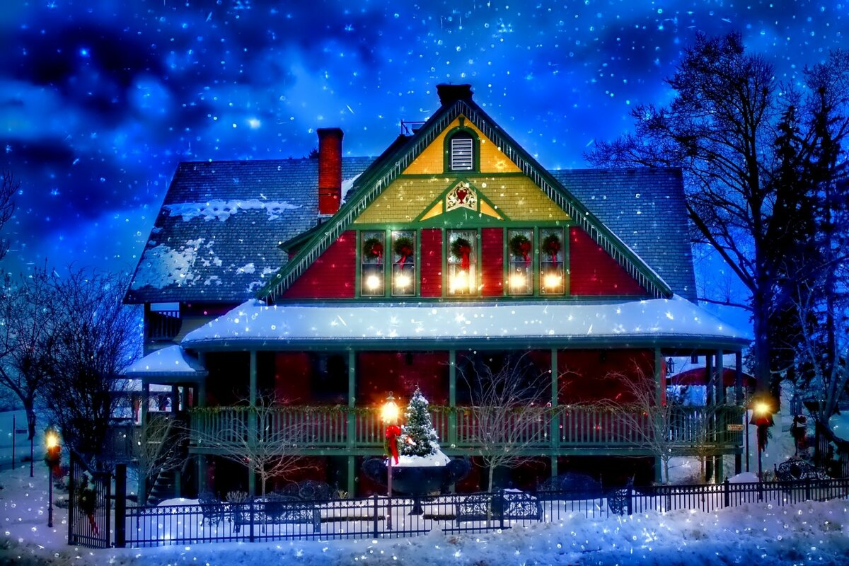 Картинка домика новогоднего