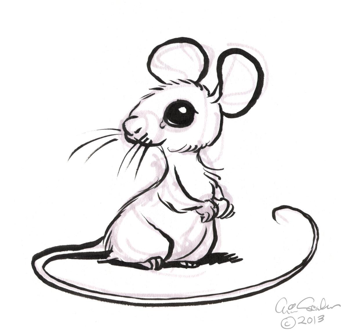 Картинки мышки на новый год нарисовать