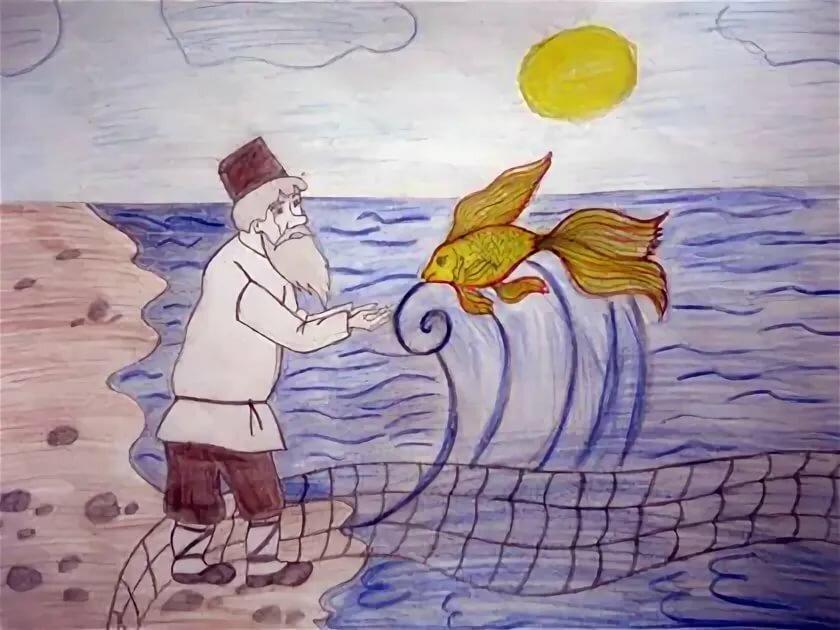 Сказка о рыбаке и рыбке картинка карандашом