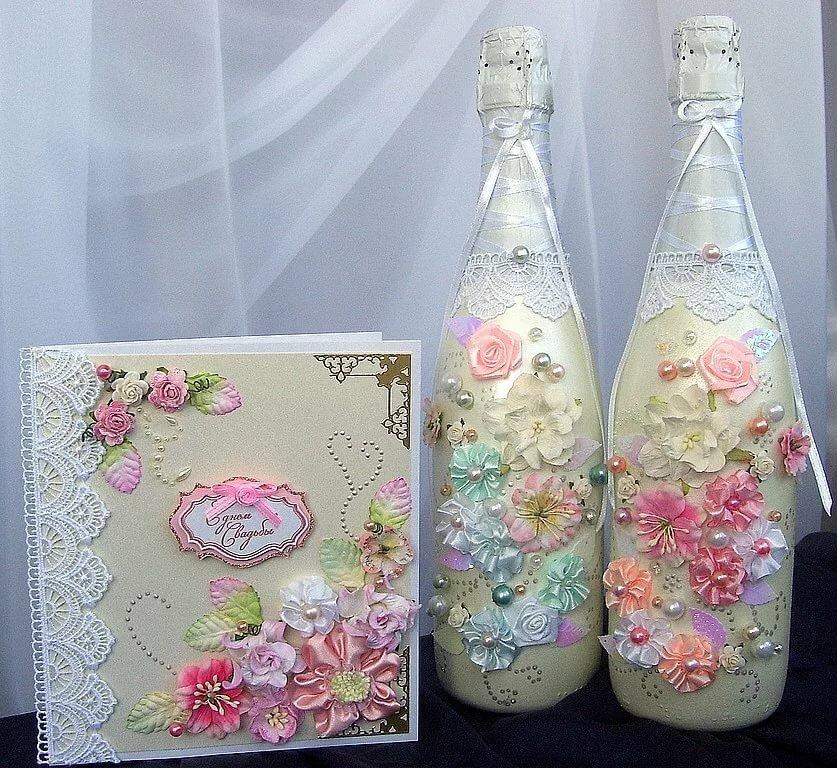 Бутылка для свадеб из открыток