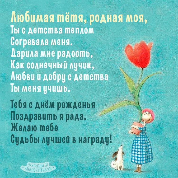 Поздравления с днем рождения тетю от ребенка короткие
