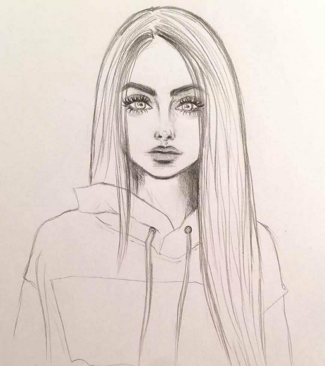 Картинки с девочками нарисованные карандашом прикольные