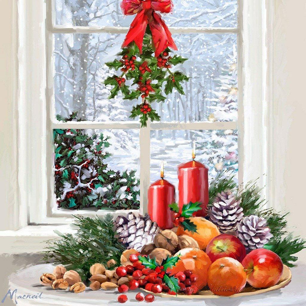 Окна на новогодних открытках