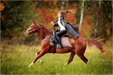 верховая езда в дамском седле