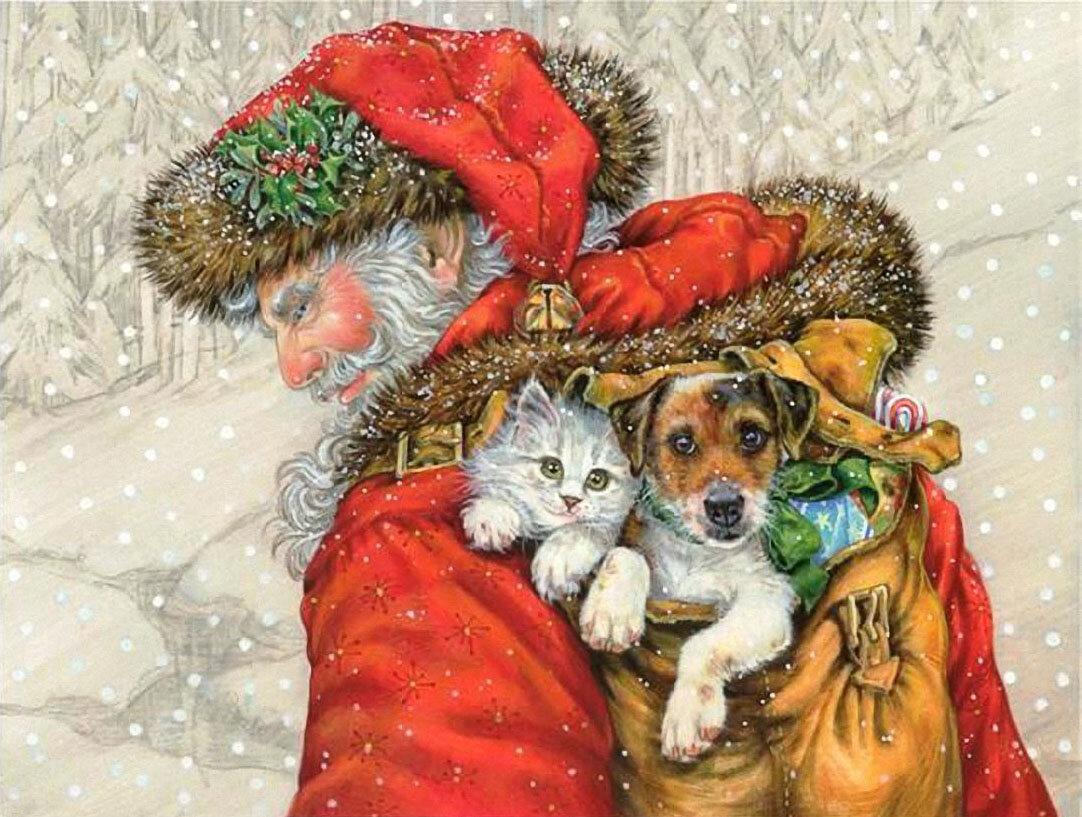 Открытки с животными с новым годом