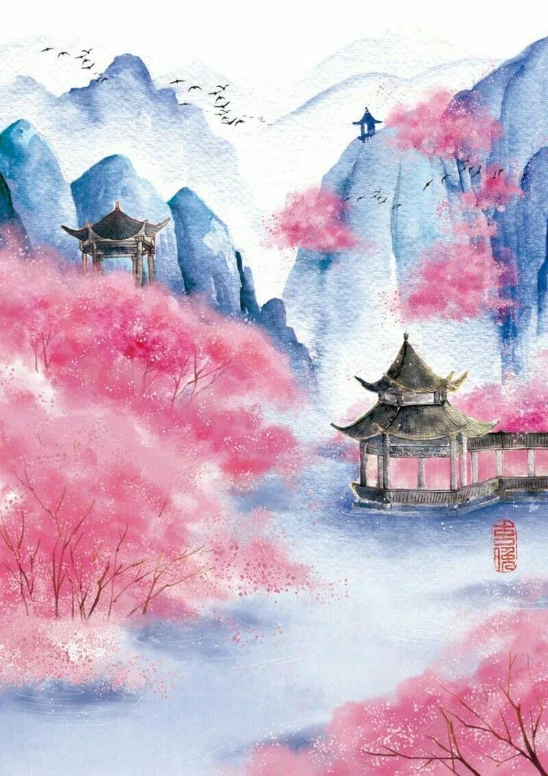 Картинки япония акварель