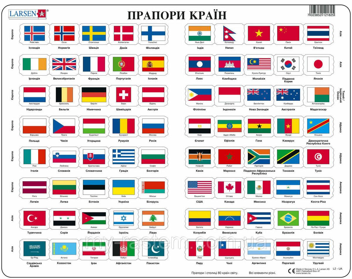 Флаги мира в картинках с названиями страны