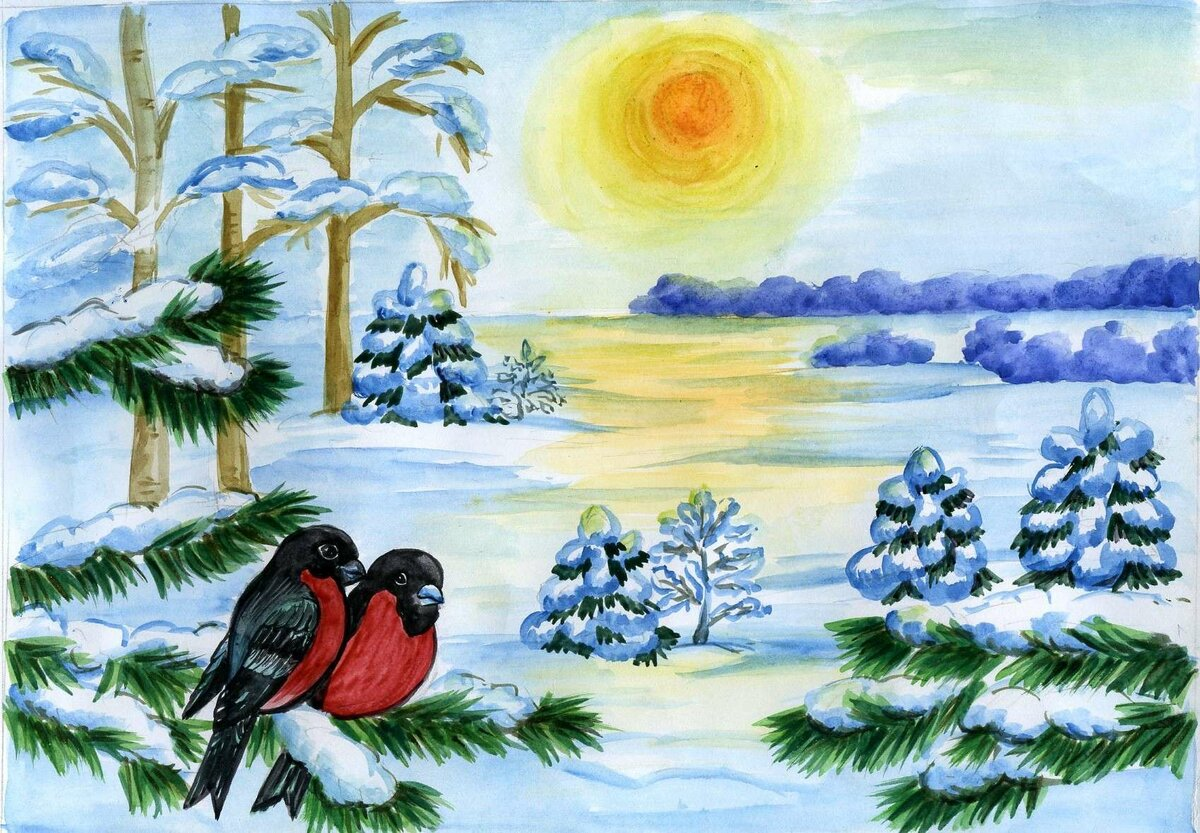 Зимние картинки красивые для детей чтобы рисовать
