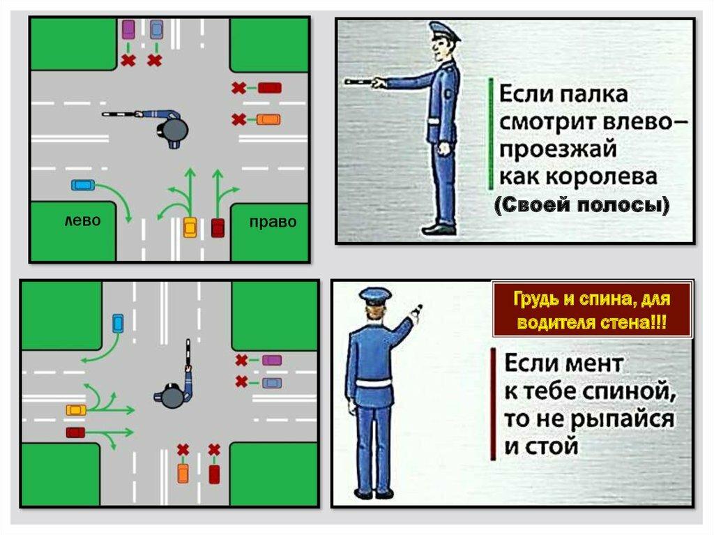Регулировщик правила проезда в картинках