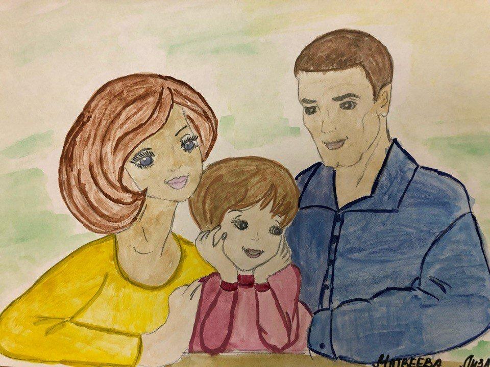 Картинки как дети рисуют семью