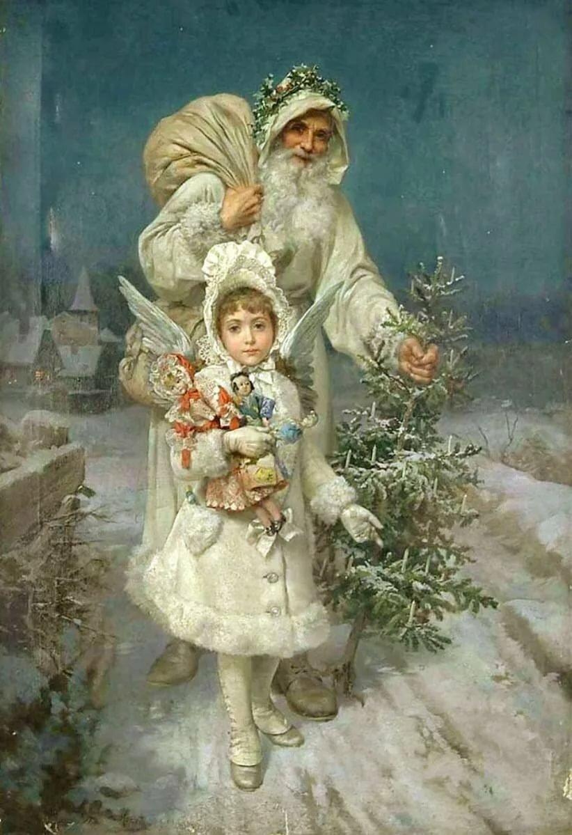 Дед мороз в дореволюционных открытках