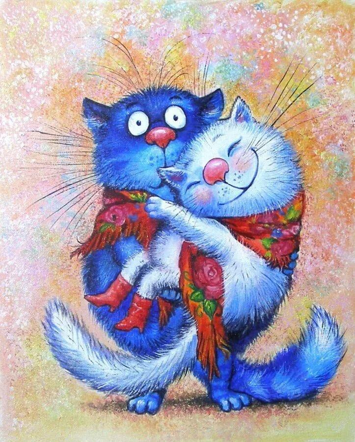 заполненная картинка синий кот на магнит занималась