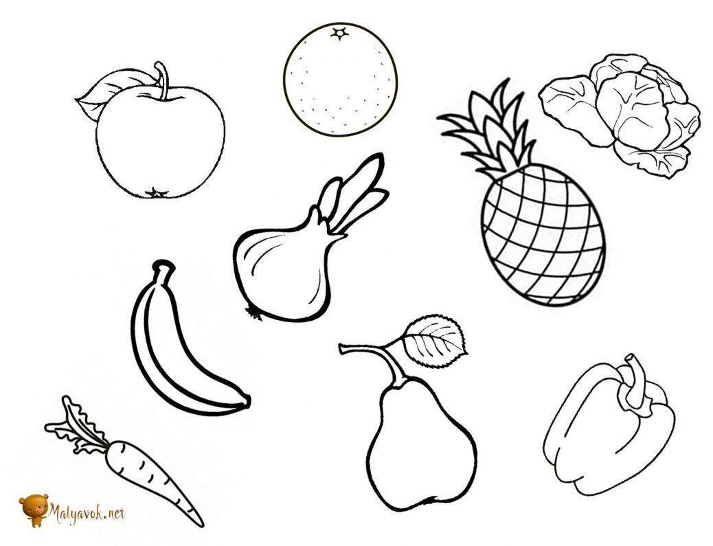 Раскраски Овощи И Фрукты Распечатать