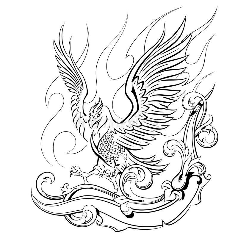 птица феникс картинка в векторе его