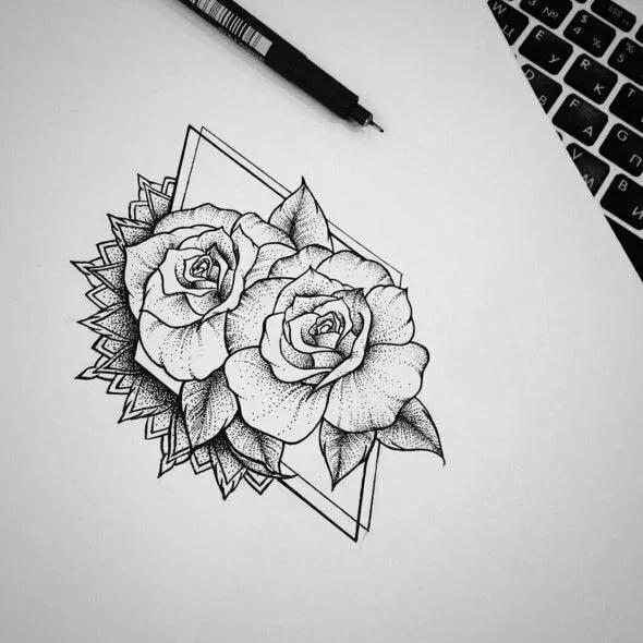 картинки черной гелевой ручкой розы жаль, что такая