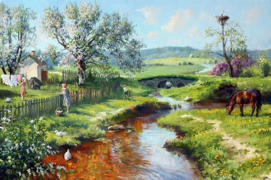 Картинки с изображением весны в деревне