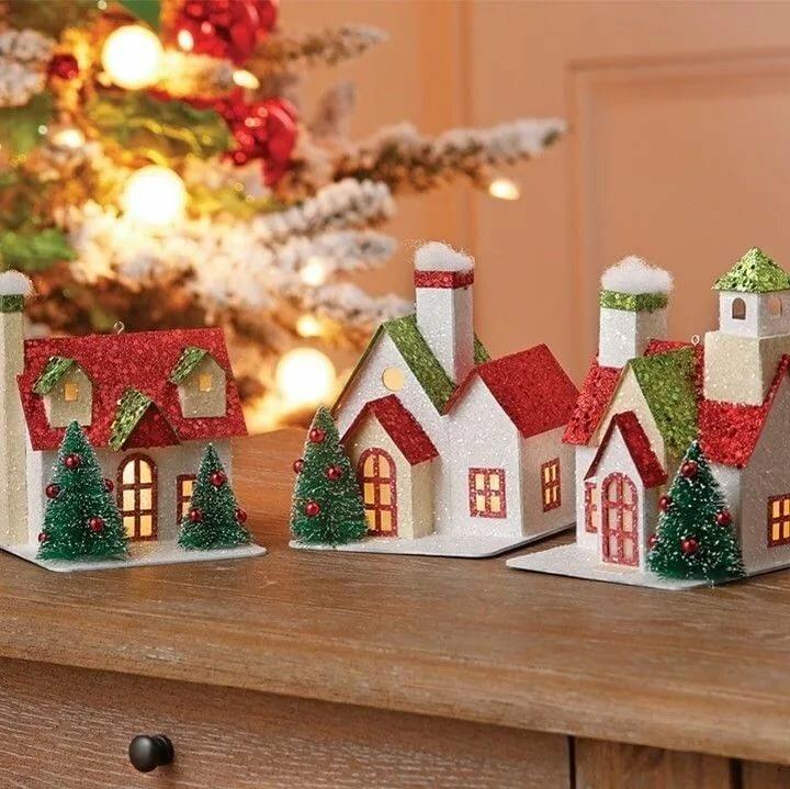 Поделки новогодние домики своими руками фото