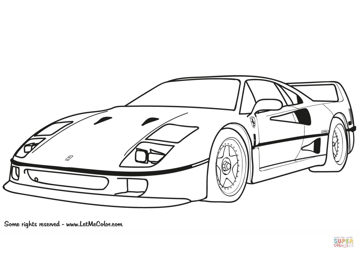 «Раскраска Суперкар Ferrari F40 Раскраски для детей печать ...