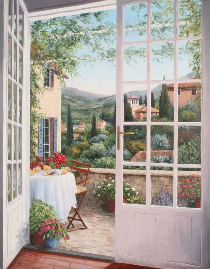 фотообои вид из окна в сад харкет молодости