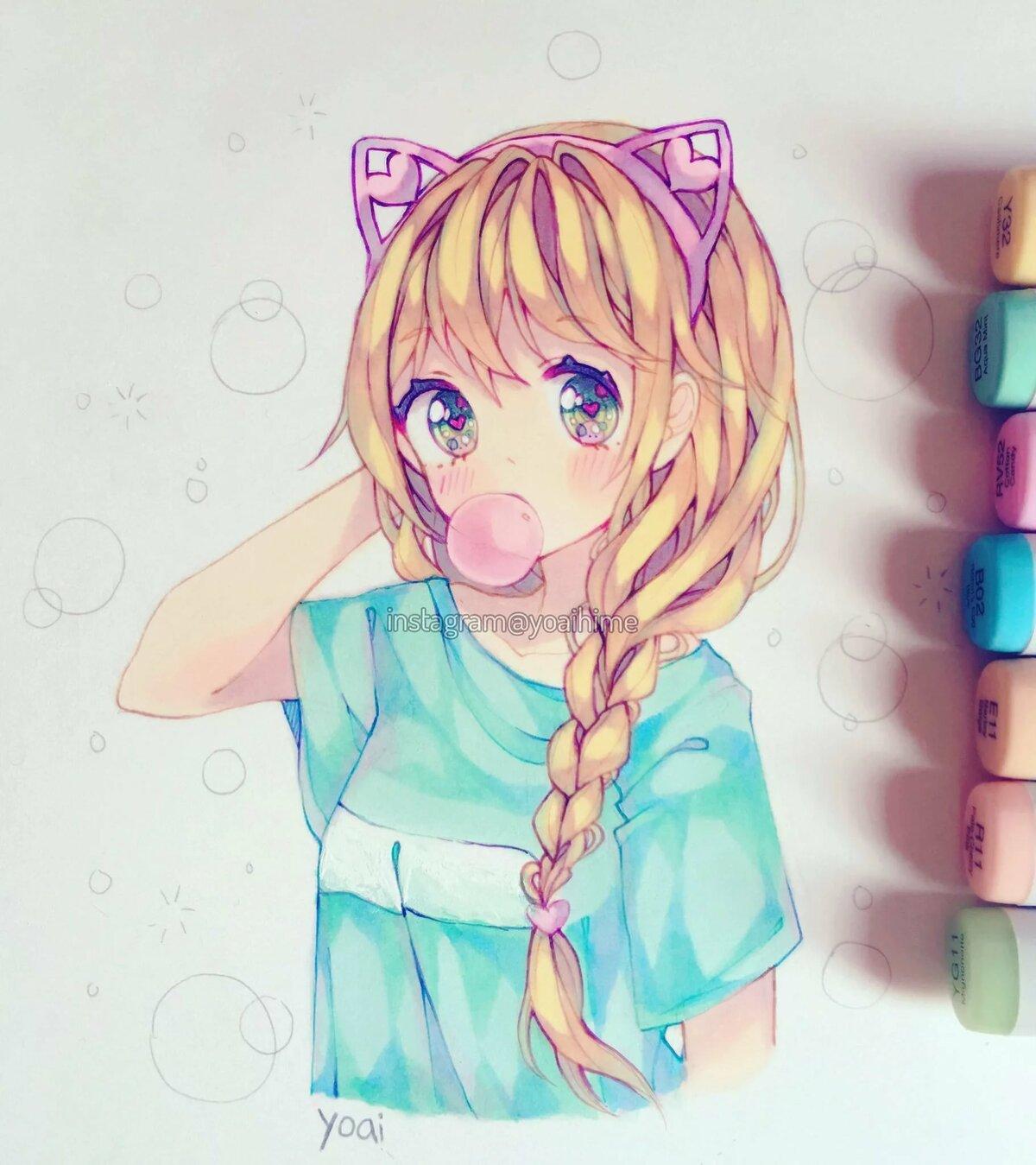 Няшная девушка рисунок