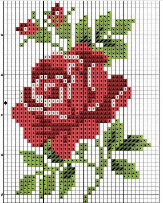 Схема вышивка роз крестиком картинки