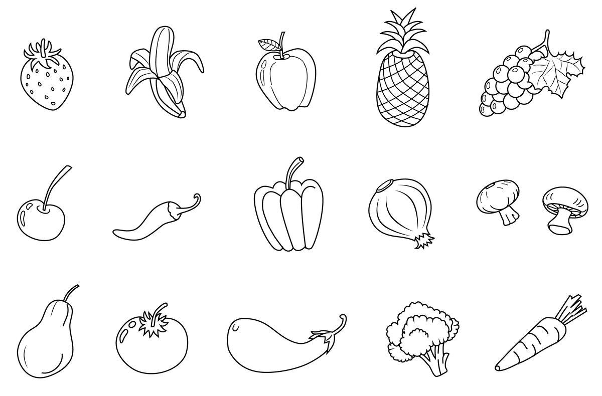 Картинка овощи черно белые