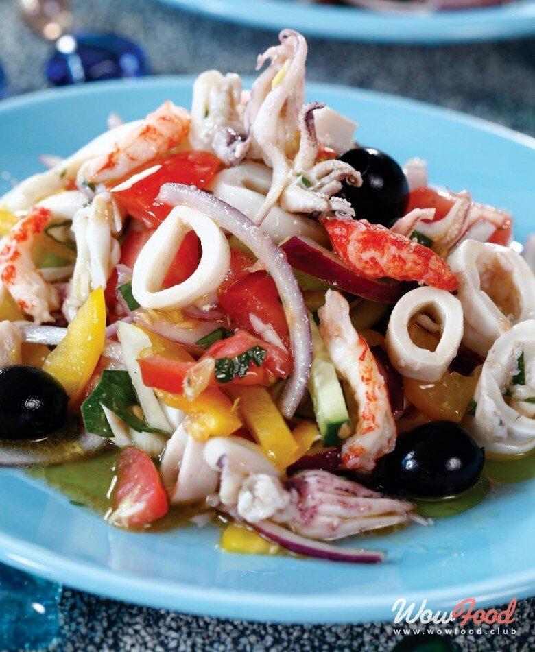 Рецепты салатов с кальмарами в картинках