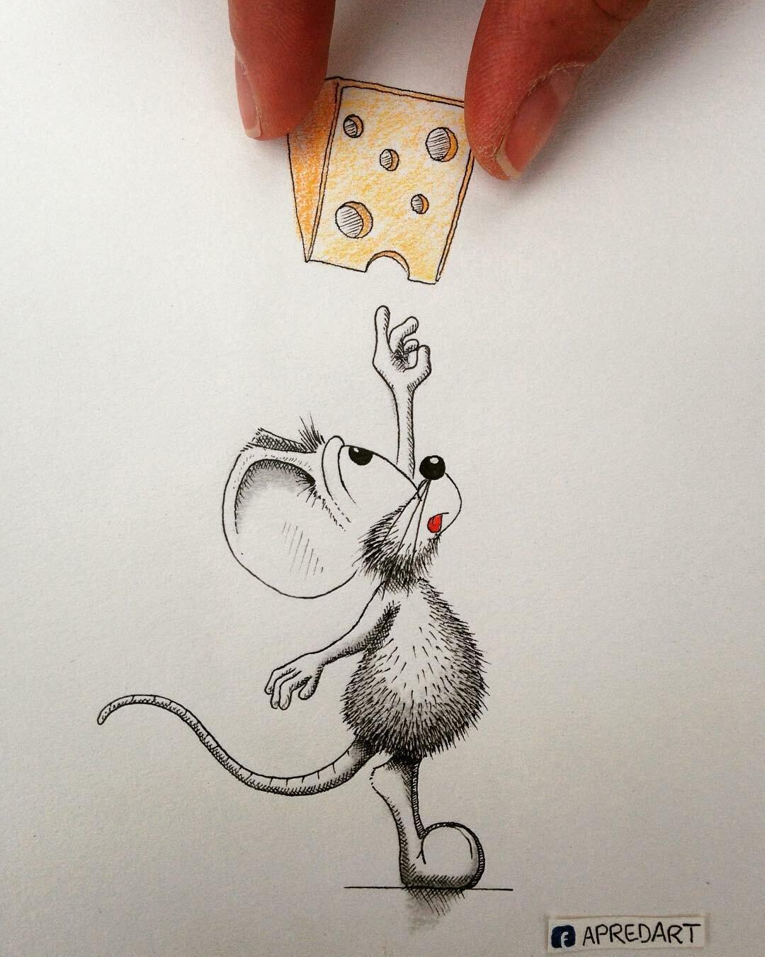 Мышь прикольная рисунок