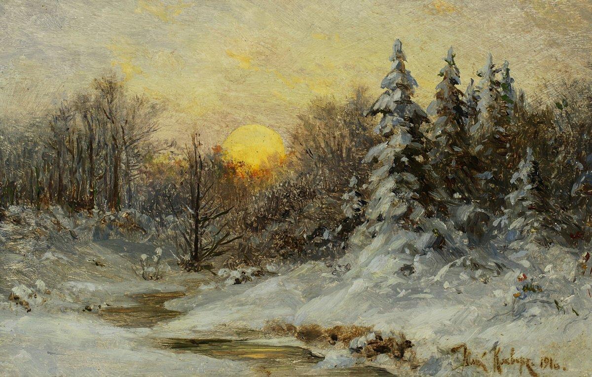 Картины зимы русских художников фото