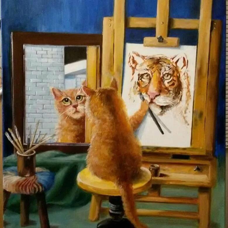 картинки про кота художника