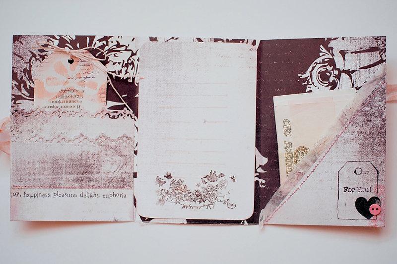 Розами, внутренний карман на открытке