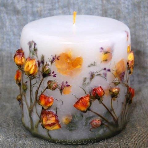 Свечи своими руками с цветами