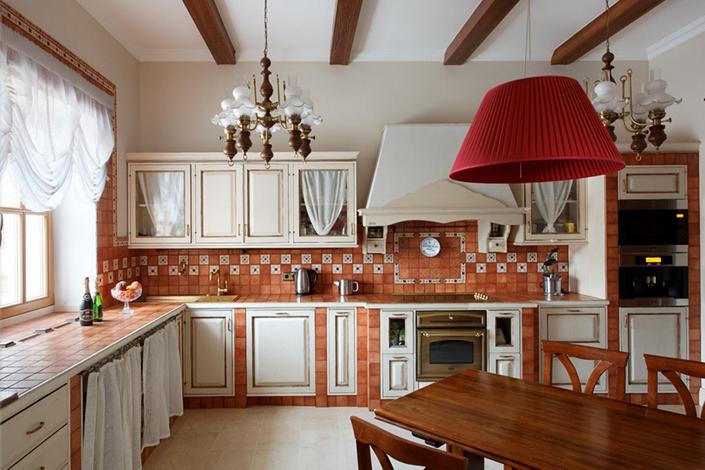 Угловые кухни кантри фото