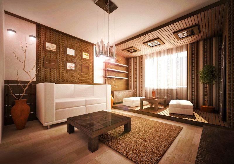 Дизайн интерьера гостиной комнаты в японском стиле