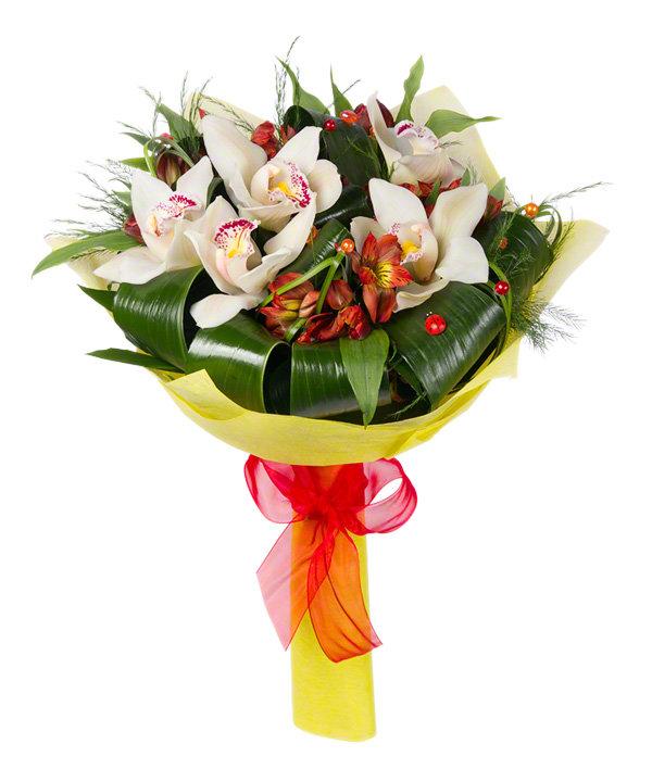 Небольшой букет из орхидей и роз фото, для