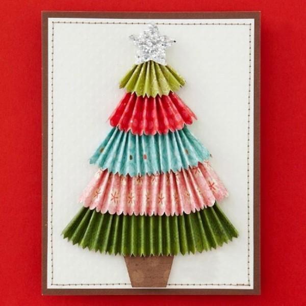 Открытки новогодние из цветной бумаги