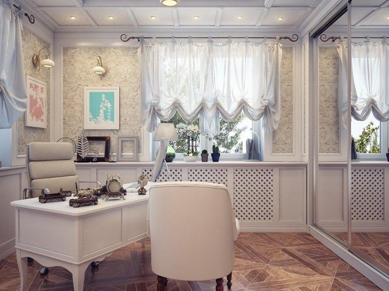 Белый интерьер часто встречается в кабинетах у женщин. Зеркала, изящная мебель, французские шторы, цветущие орхидеи…разве можно сомневаться, что это – женское царство?