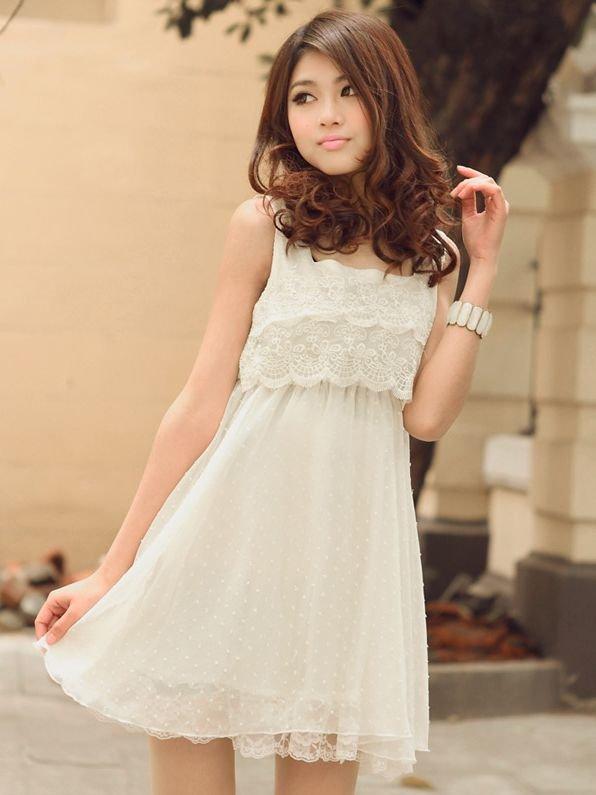 1623d6d526a Легкое белое платье без рукавов в романтическом стиле