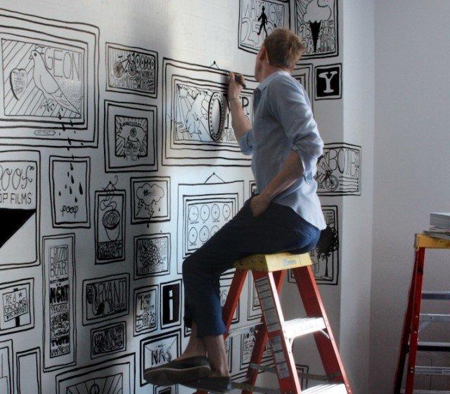 99 рисунков маркером на белых стенах от Тимоти Гудмана
