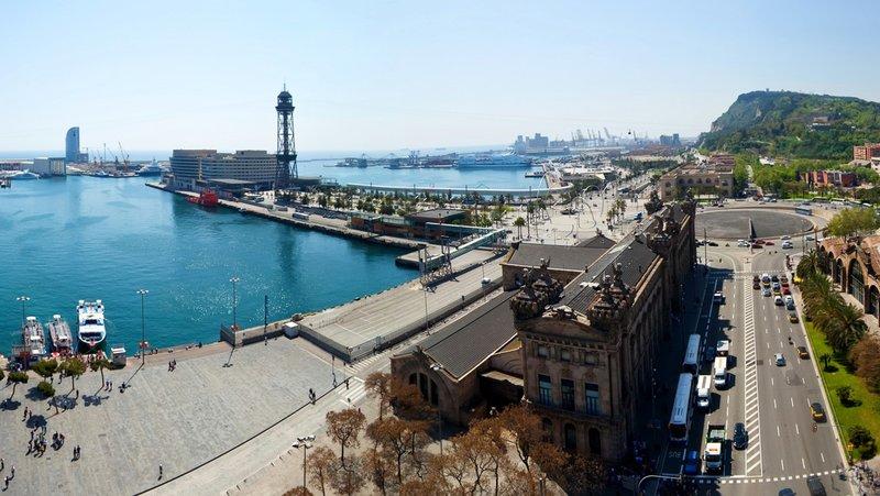 Испания Дома Дороги Причалы Барселона Города