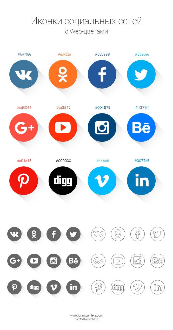 Кнопки социальных сетей Cirle Social Web Icons