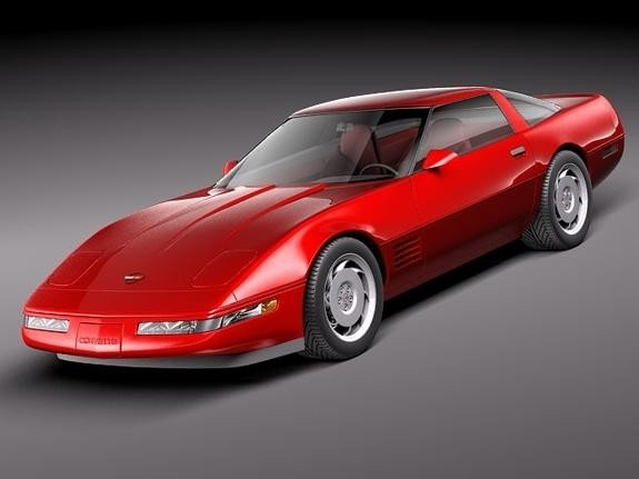 Красный практичный Chevrolet Corvette C4