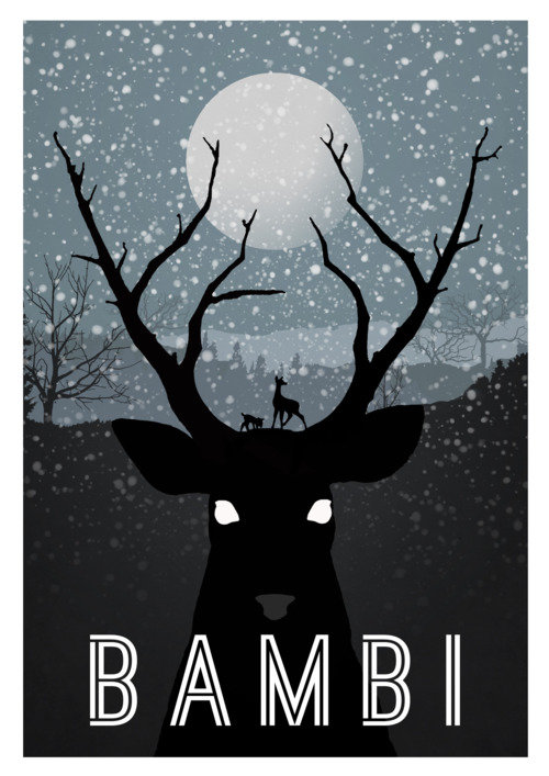 Минималистичный постер Бэмби